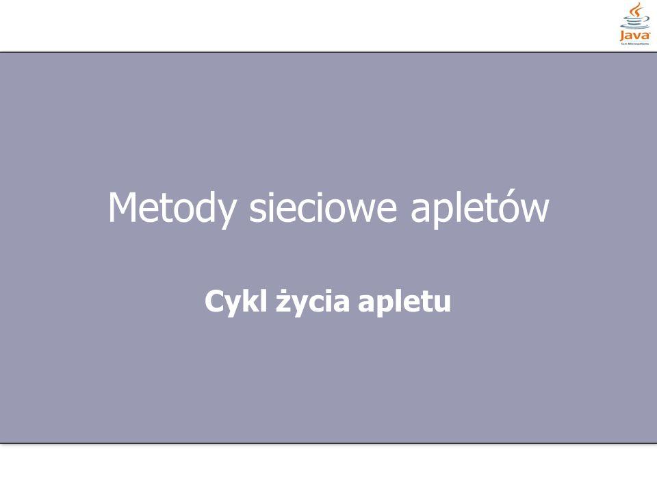 6 z 27 Etapy cyklu życia Cykl życia aplety składa się z kilku etapów: public void init() public void start() public void stop() public void destroy() paint(Graphics g)