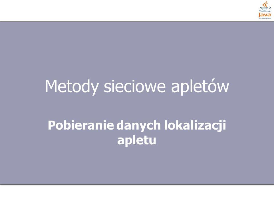 20 z 27 Przykład AudioClip dzwiek = this.getAudioClip(this.getCodeBase(), Aplety/muzyka.au ); public void start() { if(loop == false) { dzwiek.loop(); loop = true; }} public void stop() { if(loop) { dzwiek.stop(); loop = false; }}
