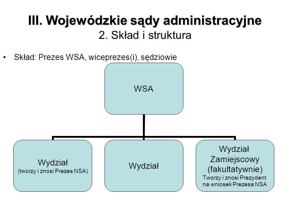 III. Wojewódzkie sądy administracyjne III. Wojewódzkie sądy administracyjne 2. Skład i struktura Skład: Prezes WSA, wiceprezes(i), sędziowie WSA Wydzi