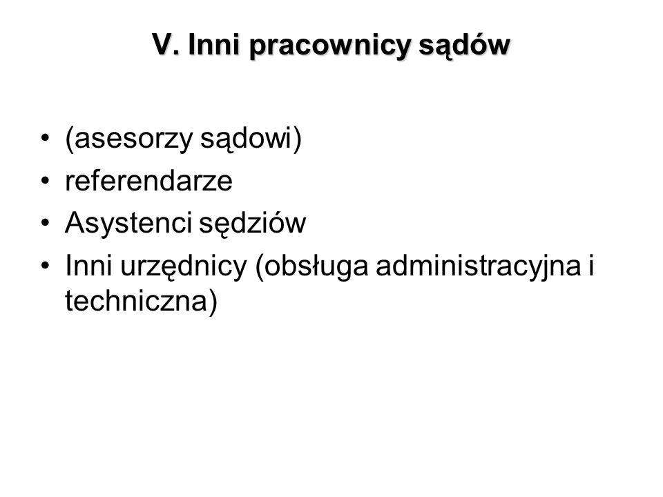 V. Inni pracownicy sądów (asesorzy sądowi) referendarze Asystenci sędziów Inni urzędnicy (obsługa administracyjna i techniczna)