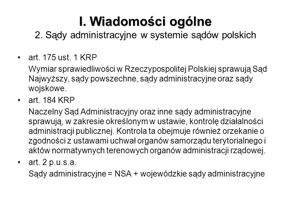 I. Wiadomości ogólne I. Wiadomości ogólne 2. Sądy administracyjne w systemie sądów polskich art. 175 ust. 1 KRP Wymiar sprawiedliwości w Rzeczypospoli
