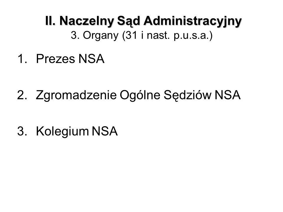 II. Naczelny Sąd Administracyjny II. Naczelny Sąd Administracyjny 3. Organy (31 i nast. p.u.s.a.) 1.Prezes NSA 2.Zgromadzenie Ogólne Sędziów NSA 3.Kol