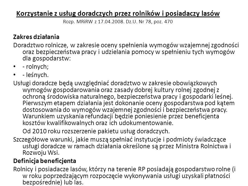 Korzystanie z usług doradczych przez rolników i posiadaczy lasów Rozp. MRiRW z 17.04.2008. Dz.U. Nr 78, poz. 470 Zakres działania Doradztwo rolnicze,