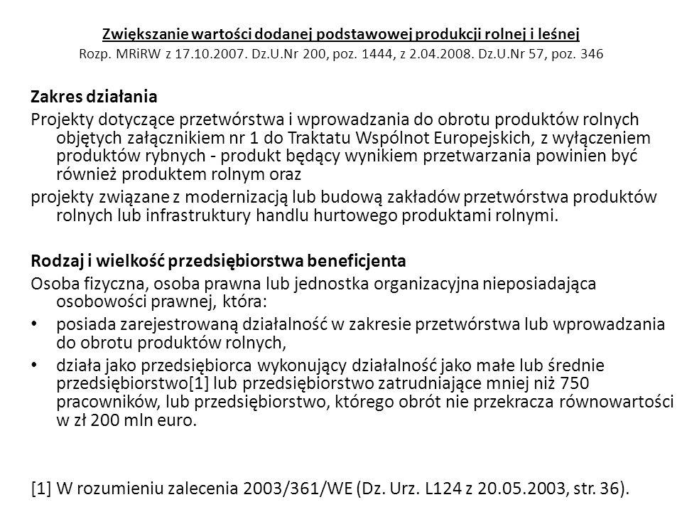 Zwiększanie wartości dodanej podstawowej produkcji rolnej i leśnej Rozp. MRiRW z 17.10.2007. Dz.U.Nr 200, poz. 1444, z 2.04.2008. Dz.U.Nr 57, poz. 346