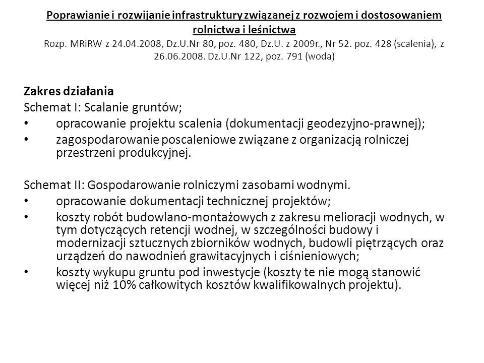 Poprawianie i rozwijanie infrastruktury związanej z rozwojem i dostosowaniem rolnictwa i leśnictwa Rozp. MRiRW z 24.04.2008, Dz.U.Nr 80, poz. 480, Dz.
