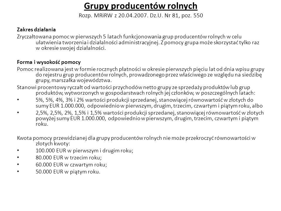Grupy producentów rolnych Rozp. MRiRW z 20.04.2007. Dz.U. Nr 81, poz. 550 Zakres działania Zryczałtowana pomoc w pierwszych 5 latach funkcjonowania gr