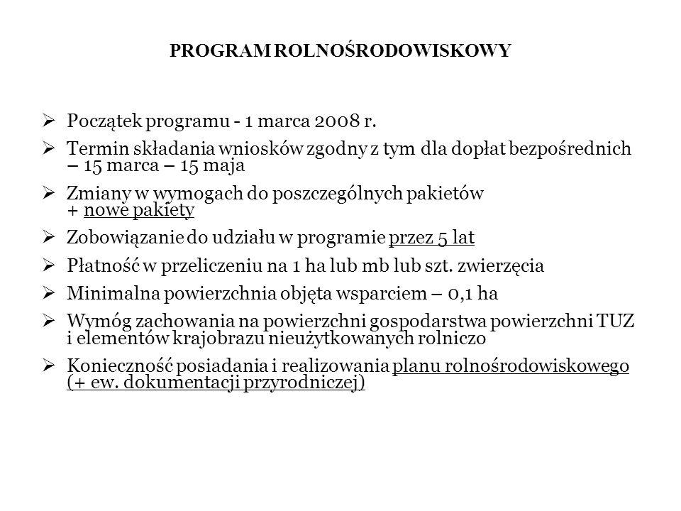 PROGRAM ROLNOŚRODOWISKOWY Początek programu - 1 marca 2008 r. Termin składania wniosków zgodny z tym dla dopłat bezpośrednich – 15 marca – 15 maja Zmi