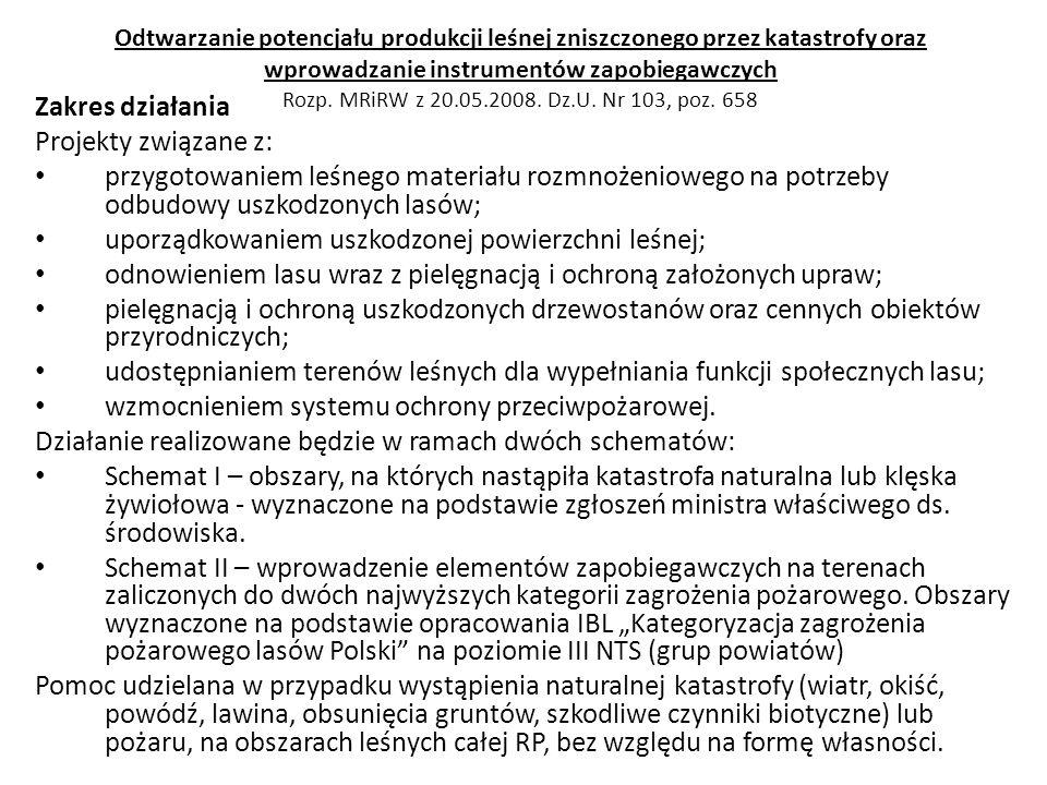 Odtwarzanie potencjału produkcji leśnej zniszczonego przez katastrofy oraz wprowadzanie instrumentów zapobiegawczych Rozp. MRiRW z 20.05.2008. Dz.U. N