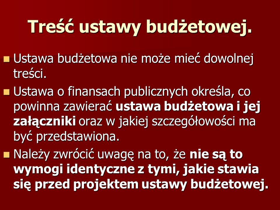 Treść ustawy budżetowej. Ustawa budżetowa nie może mieć dowolnej treści. Ustawa budżetowa nie może mieć dowolnej treści. Ustawa o finansach publicznyc