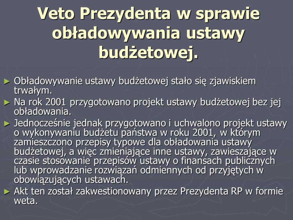 Veto Prezydenta w sprawie obładowywania ustawy budżetowej. Obładowywanie ustawy budżetowej stało się zjawiskiem trwałym. Obładowywanie ustawy budżetow