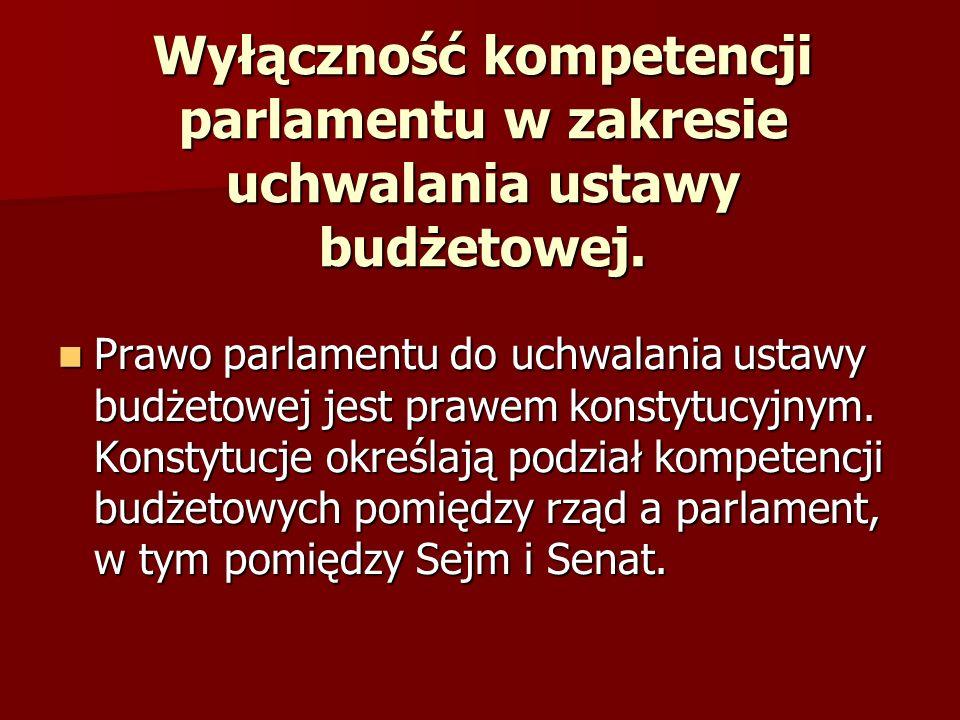 Wyłączność kompetencji parlamentu w zakresie uchwalania ustawy budżetowej. Prawo parlamentu do uchwalania ustawy budżetowej jest prawem konstytucyjnym