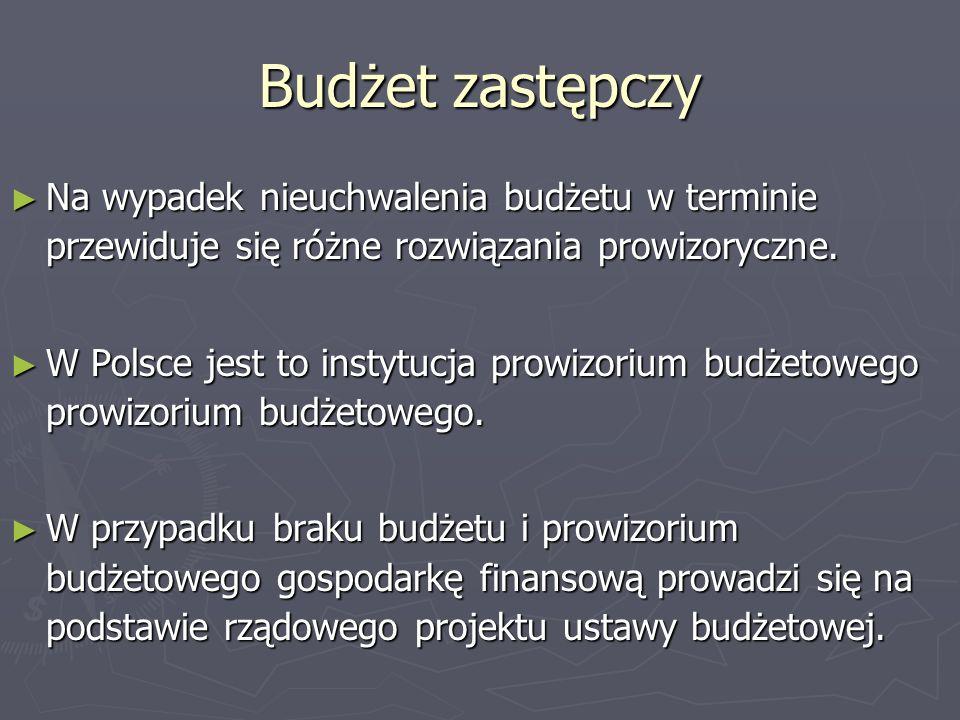 Budżet zastępczy Na wypadek nieuchwalenia budżetu w terminie przewiduje się różne rozwiązania prowizoryczne. Na wypadek nieuchwalenia budżetu w termin