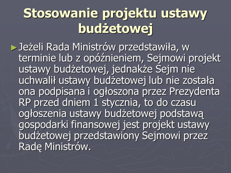 Stosowanie projektu ustawy budżetowej Jeżeli Rada Ministrów przedstawiła, w terminie lub z opóźnieniem, Sejmowi projekt ustawy budżetowej, jednakże Se