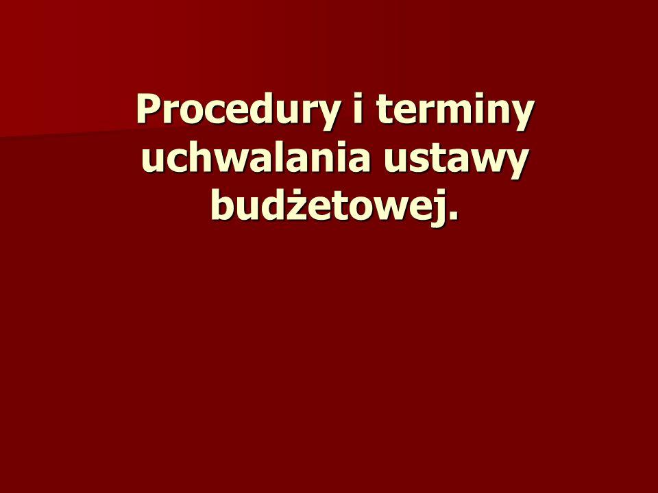 Procedury i terminy uchwalania ustawy budżetowej.