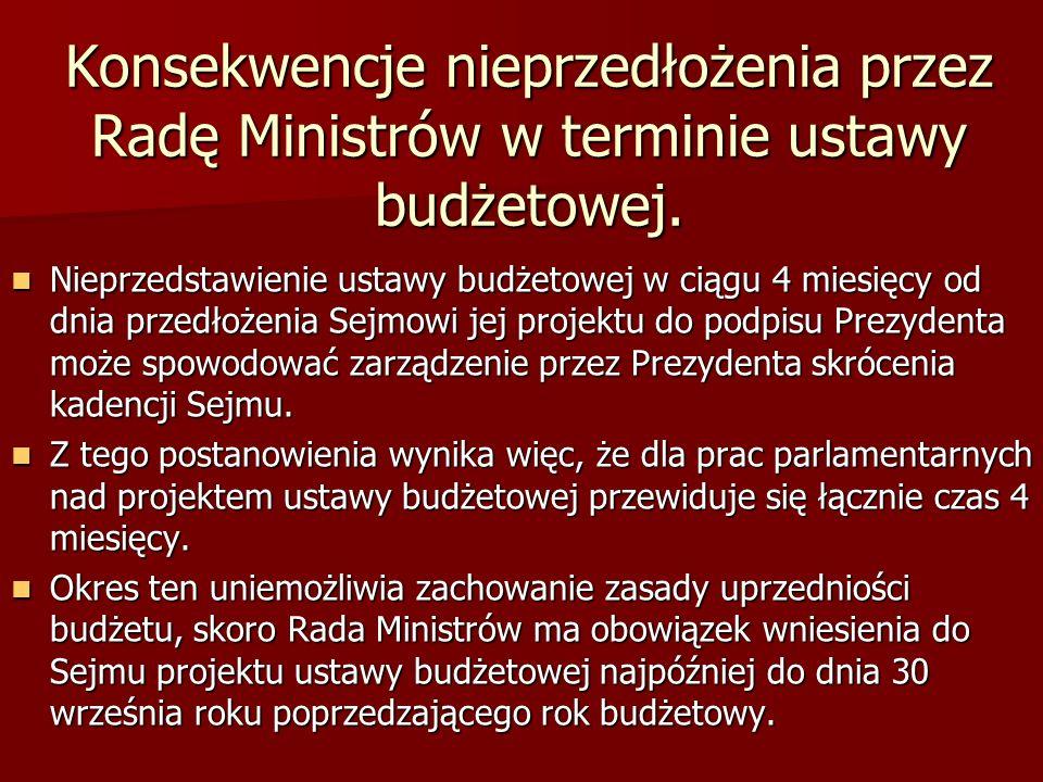 Konsekwencje nieprzedłożenia przez Radę Ministrów w terminie ustawy budżetowej. Nieprzedstawienie ustawy budżetowej w ciągu 4 miesięcy od dnia przedło