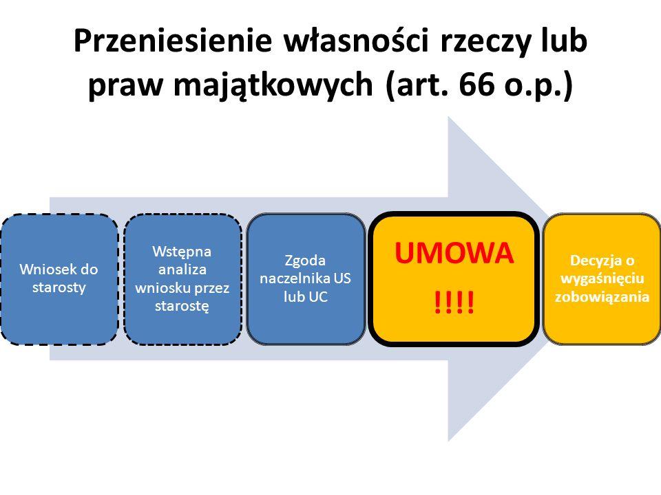 Przeniesienie własności rzeczy lub praw majątkowych (art. 66 o.p.) Wniosek do starosty Wstępna analiza wniosku przez starostę Zgoda naczelnika US lub