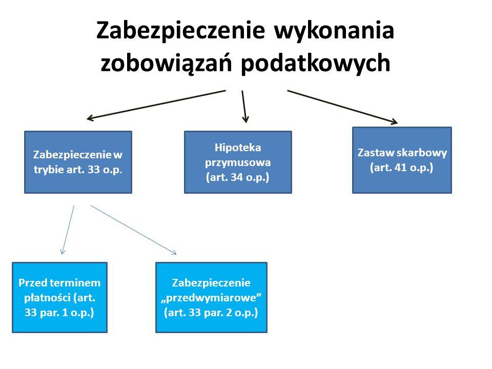 Zabezpieczenie wykonania zobowiązań podatkowych Zabezpieczenie w trybie art. 33 o.p. Hipoteka przymusowa (art. 34 o.p.) Zastaw skarbowy (art. 41 o.p.)