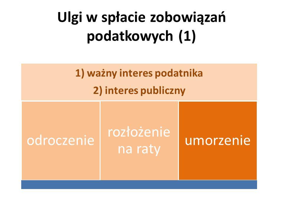Ulgi w spłacie zobowiązań podatkowych (1) 1) ważny interes podatnika 2) interes publiczny odroczenie rozłożenie na raty umorzenie