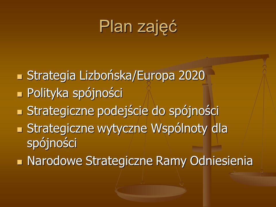 Plan zajęć Strategia Lizbońska/Europa 2020 Strategia Lizbońska/Europa 2020 Polityka spójności Polityka spójności Strategiczne podejście do spójności S