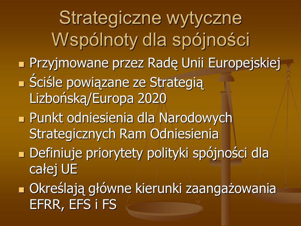 Strategiczne wytyczne Wspólnoty dla spójności Przyjmowane przez Radę Unii Europejskiej Przyjmowane przez Radę Unii Europejskiej Ściśle powiązane ze St