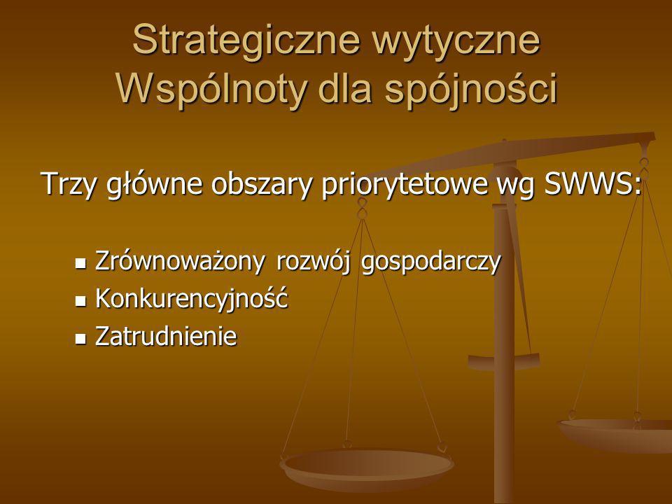 Strategiczne wytyczne Wspólnoty dla spójności Trzy główne obszary priorytetowe wg SWWS: Zrównoważony rozwój gospodarczy Zrównoważony rozwój gospodarcz