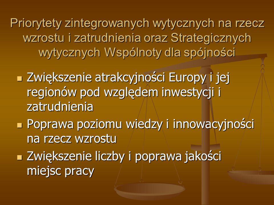 Priorytety zintegrowanych wytycznych na rzecz wzrostu i zatrudnienia oraz Strategicznych wytycznych Wspólnoty dla spójności Zwiększenie atrakcyjności