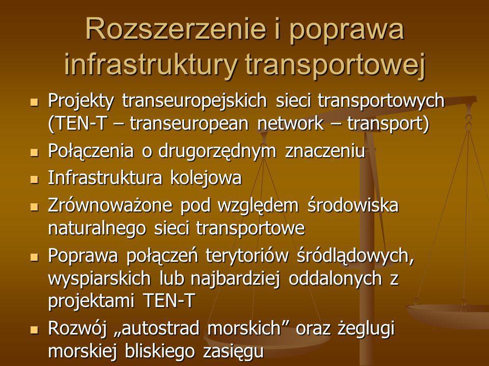 Rozszerzenie i poprawa infrastruktury transportowej Projekty transeuropejskich sieci transportowych (TEN-T – transeuropean network – transport) Projek