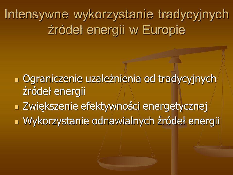 Intensywne wykorzystanie tradycyjnych źródeł energii w Europie Ograniczenie uzależnienia od tradycyjnych źródeł energii Ograniczenie uzależnienia od t
