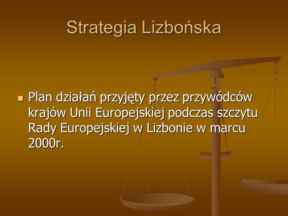 Strategia Lizbońska Zdefiniowano następujące szczegółowe zamierzenia, których realizacja miała nastąpić do 2010 roku: Inwestycje na badania i rozwój (R&D) wzrosną do 3% PKB Inwestycje na badania i rozwój (R&D) wzrosną do 3% PKB Zredukowana zostaną biurokracja i utrudnienia dla przedsiębiorczości Zredukowana zostaną biurokracja i utrudnienia dla przedsiębiorczości Nastąpi wzrost zatrudnienia do 70% dla mężczyzn i 60% dla kobiet Nastąpi wzrost zatrudnienia do 70% dla mężczyzn i 60% dla kobiet