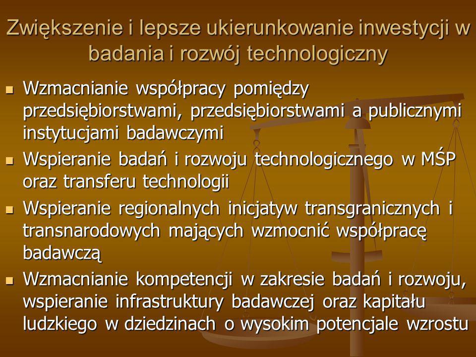 Zwiększenie i lepsze ukierunkowanie inwestycji w badania i rozwój technologiczny Wzmacnianie współpracy pomiędzy przedsiębiorstwami, przedsiębiorstwam
