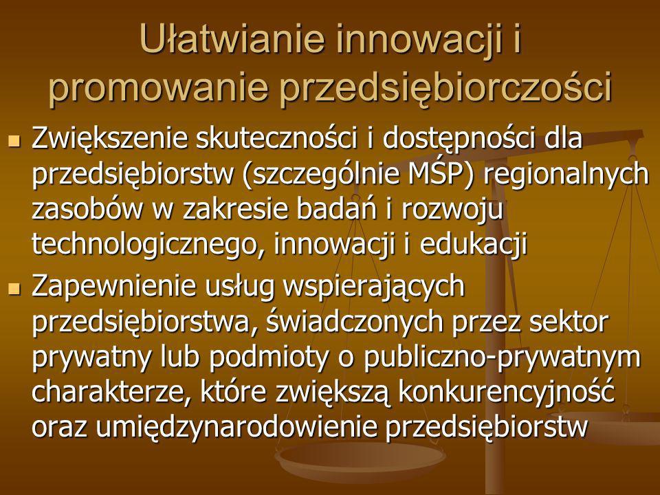 Ułatwianie innowacji i promowanie przedsiębiorczości Zwiększenie skuteczności i dostępności dla przedsiębiorstw (szczególnie MŚP) regionalnych zasobów