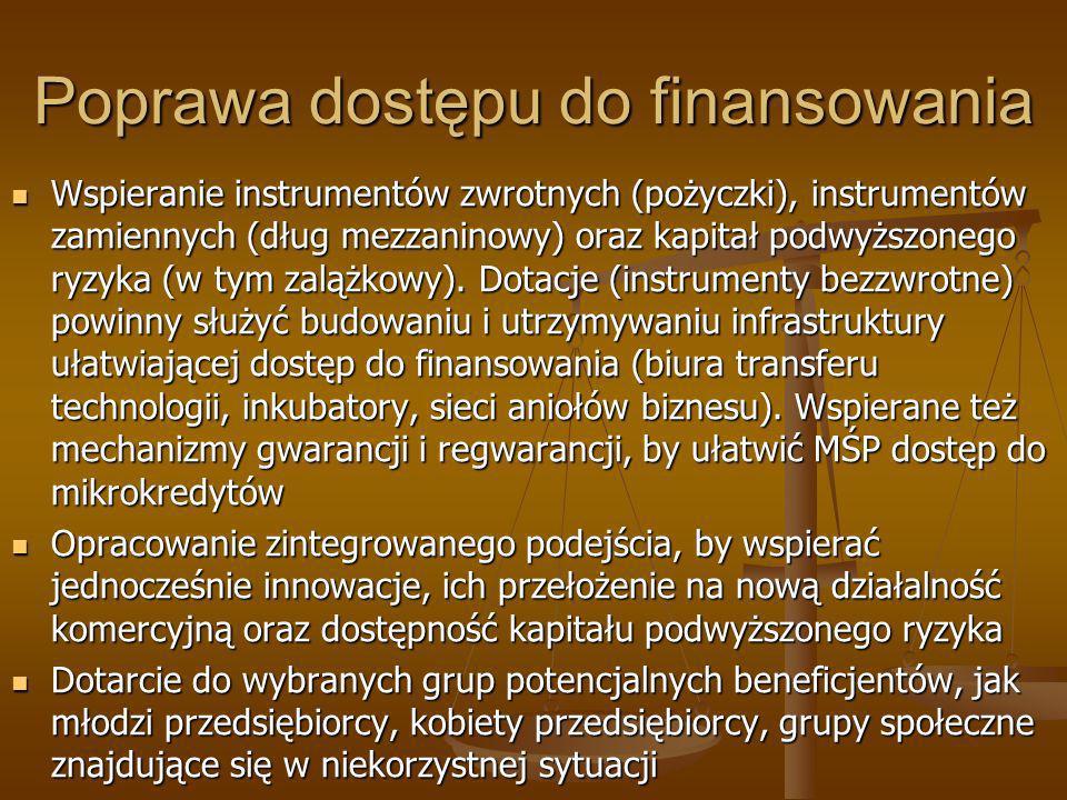 Poprawa dostępu do finansowania Wspieranie instrumentów zwrotnych (pożyczki), instrumentów zamiennych (dług mezzaninowy) oraz kapitał podwyższonego ry
