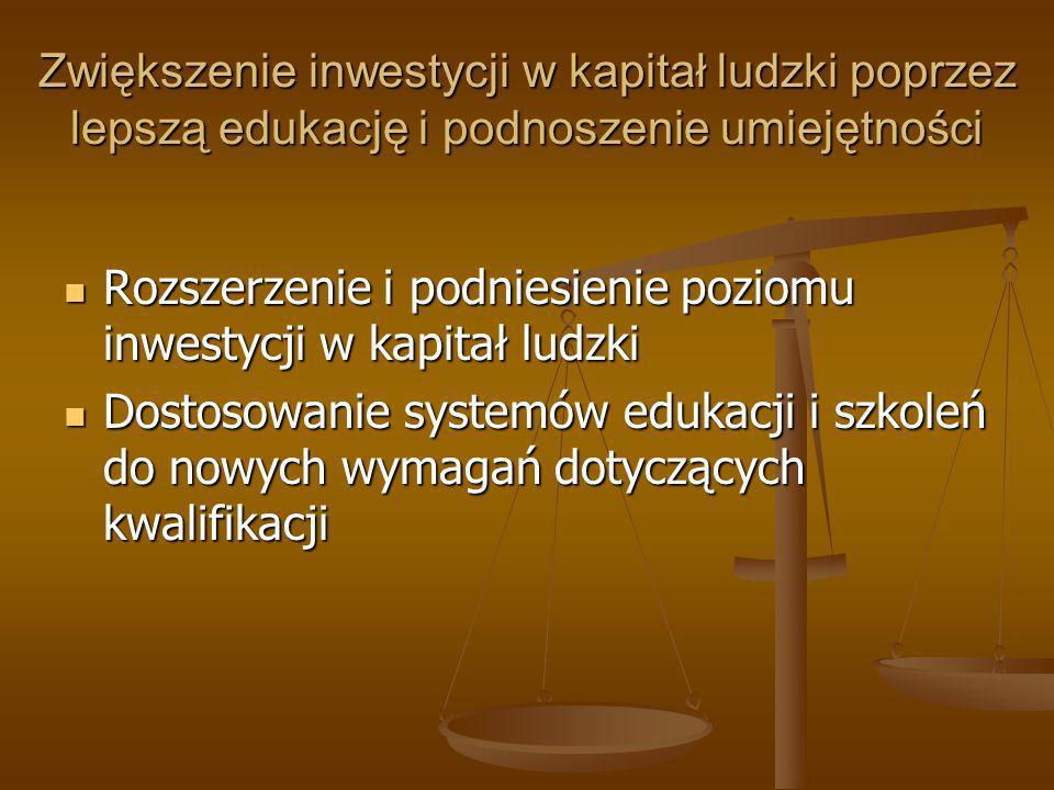 Zwiększenie inwestycji w kapitał ludzki poprzez lepszą edukację i podnoszenie umiejętności Rozszerzenie i podniesienie poziomu inwestycji w kapitał lu