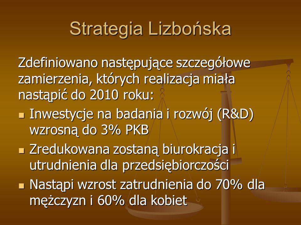 Strategia Lizbońska Zdefiniowano następujące szczegółowe zamierzenia, których realizacja miała nastąpić do 2010 roku: Inwestycje na badania i rozwój (