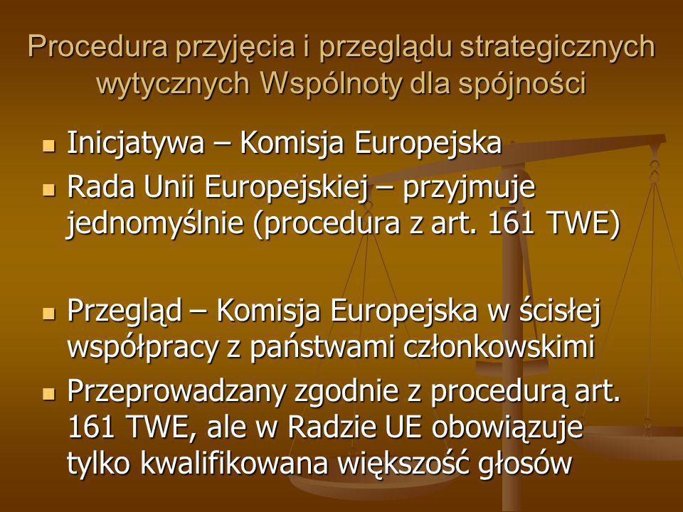 Procedura przyjęcia i przeglądu strategicznych wytycznych Wspólnoty dla spójności Inicjatywa – Komisja Europejska Inicjatywa – Komisja Europejska Rada