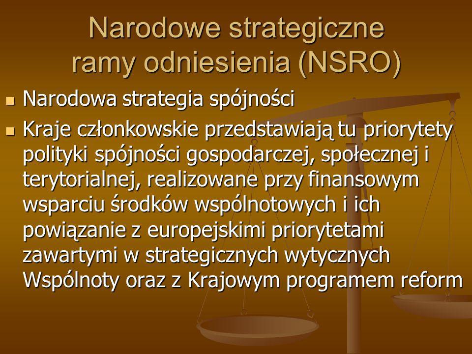 Narodowe strategiczne ramy odniesienia (NSRO) Narodowa strategia spójności Narodowa strategia spójności Kraje członkowskie przedstawiają tu priorytety