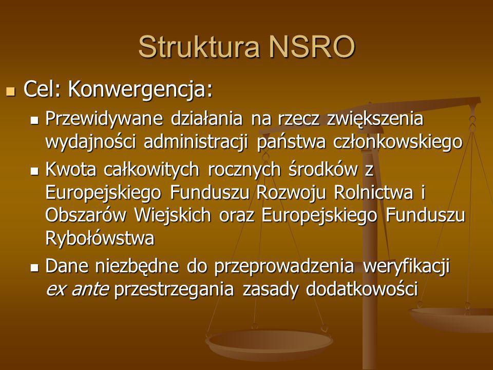 Struktura NSRO Cel: Konwergencja: Cel: Konwergencja: Przewidywane działania na rzecz zwiększenia wydajności administracji państwa członkowskiego Przew