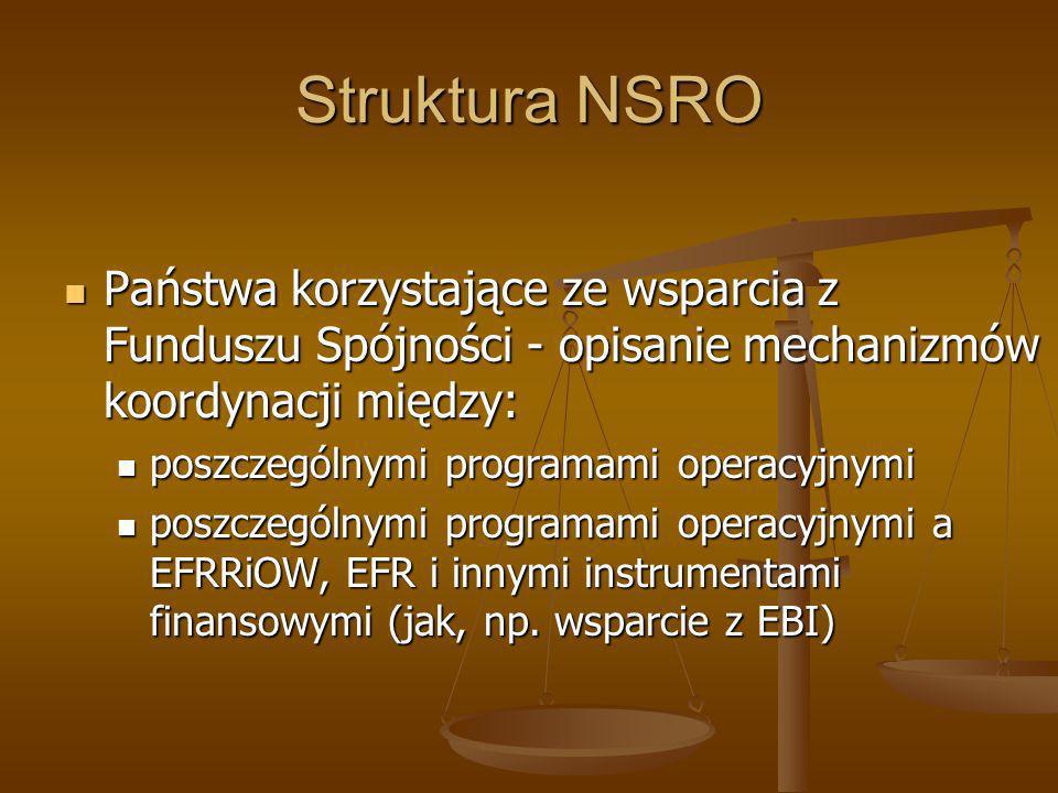 Struktura NSRO Państwa korzystające ze wsparcia z Funduszu Spójności - opisanie mechanizmów koordynacji między: Państwa korzystające ze wsparcia z Fun