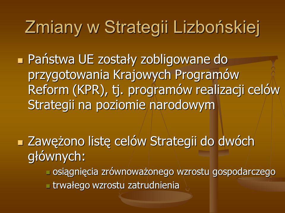 Zmiany w Strategii Lizbońskiej Państwa UE zostały zobligowane do przygotowania Krajowych Programów Reform (KPR), tj. programów realizacji celów Strate