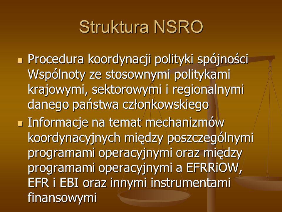 Struktura NSRO Procedura koordynacji polityki spójności Wspólnoty ze stosownymi politykami krajowymi, sektorowymi i regionalnymi danego państwa członk