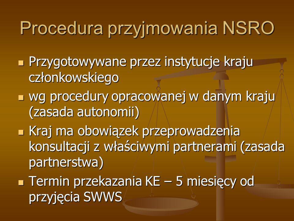 Procedura przyjmowania NSRO Przygotowywane przez instytucje kraju członkowskiego Przygotowywane przez instytucje kraju członkowskiego wg procedury opr
