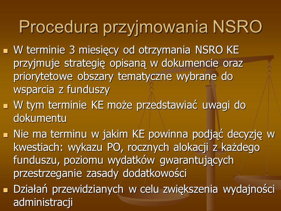 Procedura przyjmowania NSRO W terminie 3 miesięcy od otrzymania NSRO KE przyjmuje strategię opisaną w dokumencie oraz priorytetowe obszary tematyczne