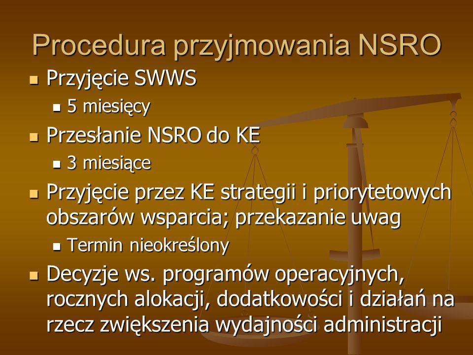 Procedura przyjmowania NSRO Przyjęcie SWWS Przyjęcie SWWS 5 miesięcy 5 miesięcy Przesłanie NSRO do KE Przesłanie NSRO do KE 3 miesiące 3 miesiące Przy