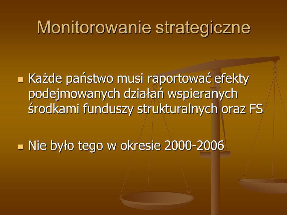 Monitorowanie strategiczne Każde państwo musi raportować efekty podejmowanych działań wspieranych środkami funduszy strukturalnych oraz FS Każde państ