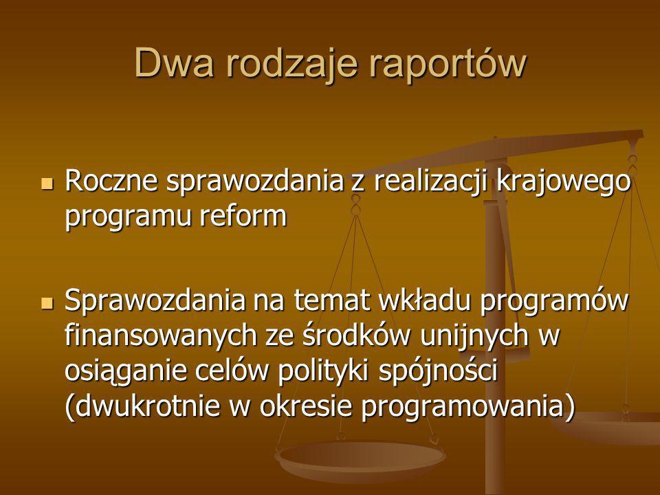 Dwa rodzaje raportów Roczne sprawozdania z realizacji krajowego programu reform Roczne sprawozdania z realizacji krajowego programu reform Sprawozdani