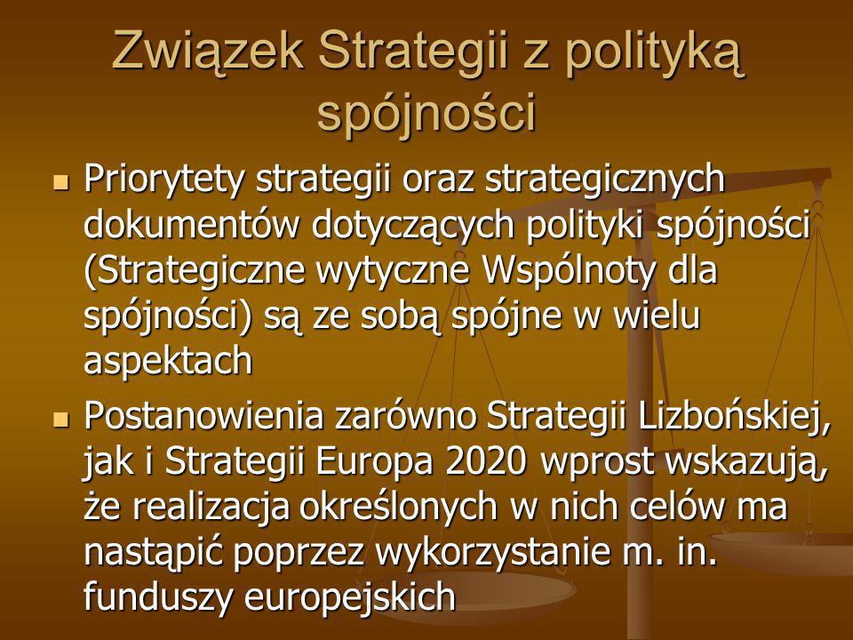 Związek Strategii z polityką spójności Priorytety strategii oraz strategicznych dokumentów dotyczących polityki spójności (Strategiczne wytyczne Wspól