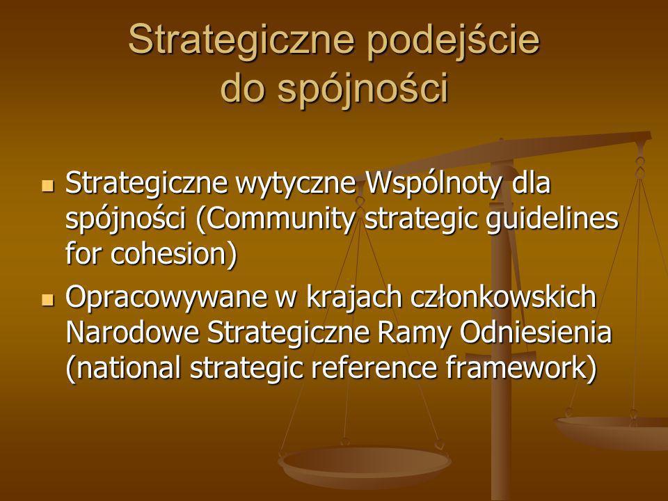 Strategiczne wytyczne Wspólnoty dla spójności Przyjmowane przez Radę Unii Europejskiej Przyjmowane przez Radę Unii Europejskiej Ściśle powiązane ze Strategią Lizbońską/Europa 2020 Ściśle powiązane ze Strategią Lizbońską/Europa 2020 Punkt odniesienia dla Narodowych Strategicznych Ram Odniesienia Punkt odniesienia dla Narodowych Strategicznych Ram Odniesienia Definiuje priorytety polityki spójności dla całej UE Definiuje priorytety polityki spójności dla całej UE Określają główne kierunki zaangażowania EFRR, EFS i FS Określają główne kierunki zaangażowania EFRR, EFS i FS