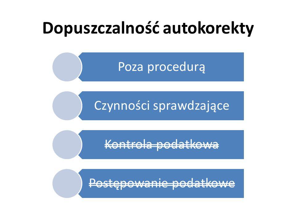 Dopuszczalność autokorekty Poza procedurą Czynności sprawdzające Kontrola podatkowa Postępowanie podatkowe