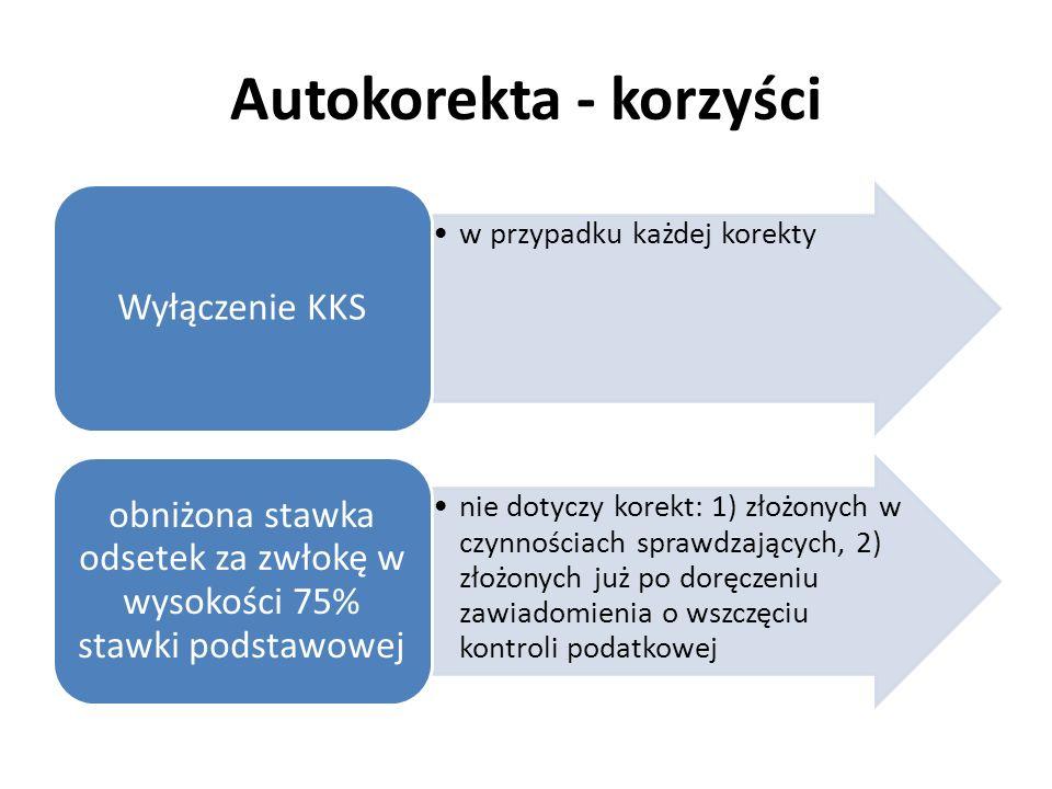 Autokorekta - korzyści w przypadku każdej korekty Wyłączenie KKS nie dotyczy korekt: 1) złożonych w czynnościach sprawdzających, 2) złożonych już po d