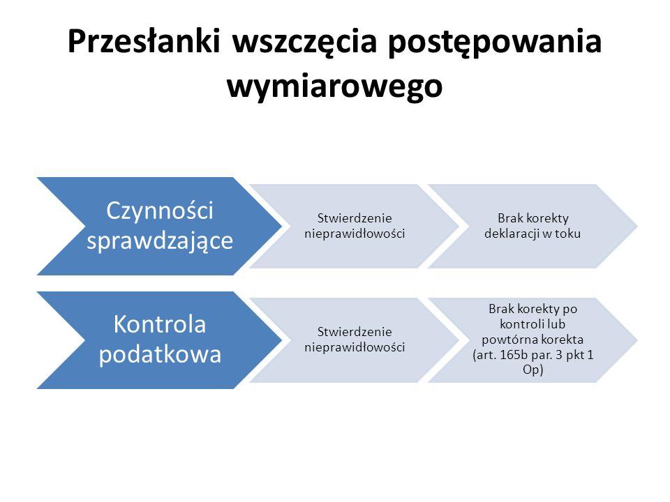 Przesłanki wszczęcia postępowania wymiarowego Czynności sprawdzające Stwierdzenie nieprawidłowości Brak korekty deklaracji w toku Kontrola podatkowa S